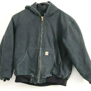 Mens Carhartt Quilted Flannel Lined Hooded Coat